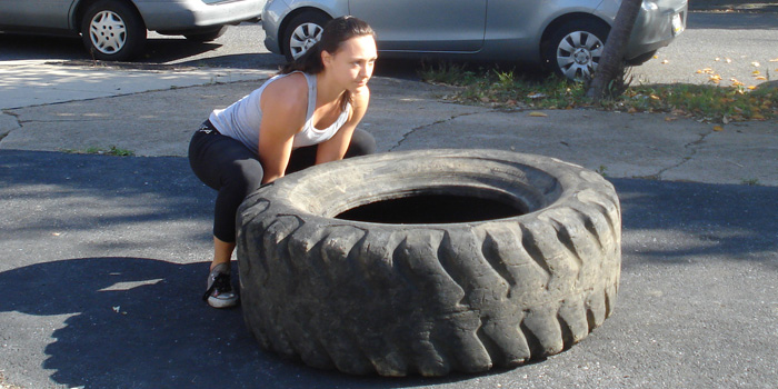 WOD 100811: Tire Flips and Team Work