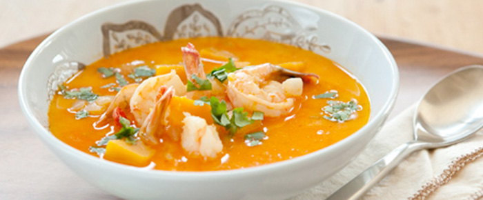 Butternut Squash And Coconut Soup With Shrimp