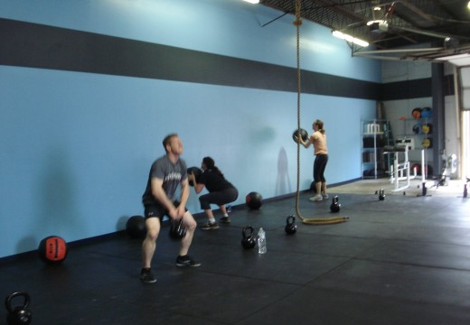 WOD 050612: Run Wallballs Pushups Back Squats High Pulls